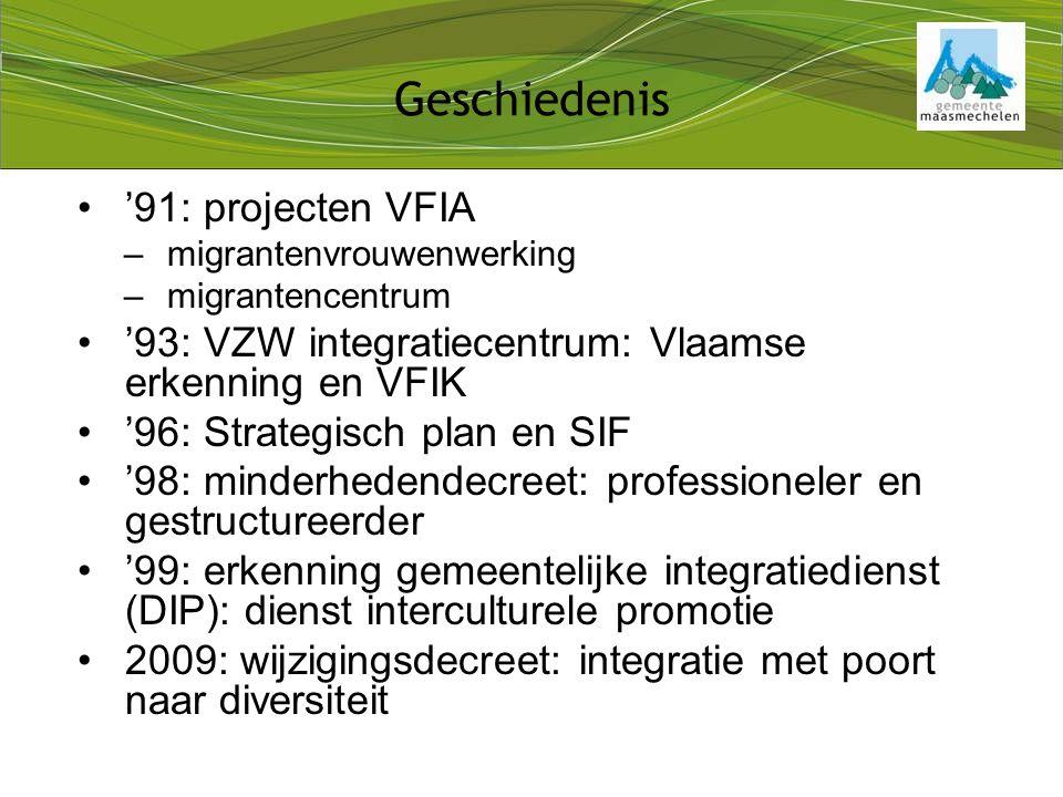 '91: projecten VFIA –migrantenvrouwenwerking –migrantencentrum '93: VZW integratiecentrum: Vlaamse erkenning en VFIK '96: Strategisch plan en SIF '98: minderhedendecreet: professioneler en gestructureerder '99: erkenning gemeentelijke integratiedienst (DIP): dienst interculturele promotie 2009: wijzigingsdecreet: integratie met poort naar diversiteit Geschiedenis