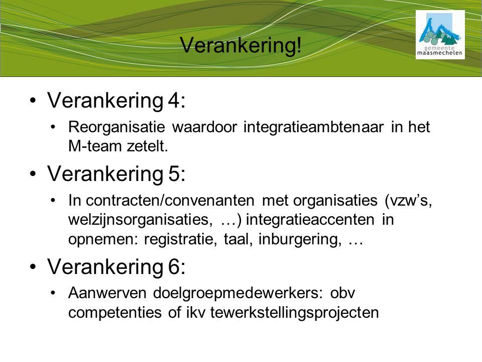 Verankering 4: Reorganisatie waardoor integratieambtenaar in het M-team zetelt.
