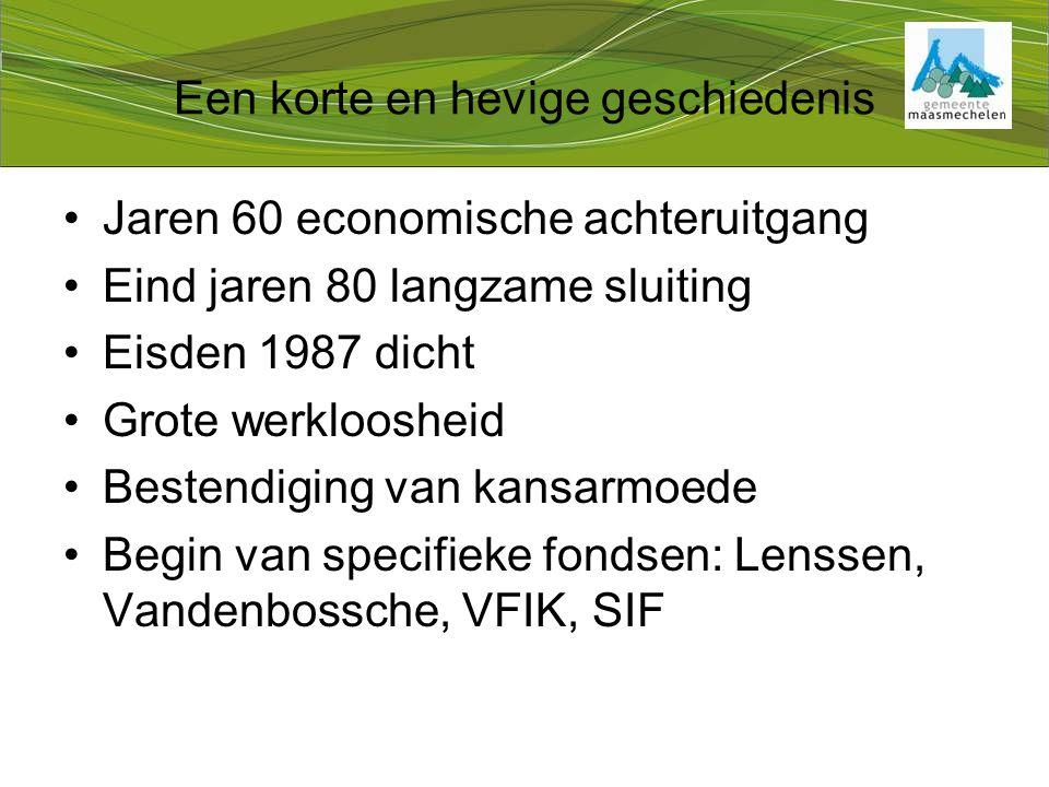 Een korte en hevige geschiedenis Jaren 60 economische achteruitgang Eind jaren 80 langzame sluiting Eisden 1987 dicht Grote werkloosheid Bestendiging van kansarmoede Begin van specifieke fondsen: Lenssen, Vandenbossche, VFIK, SIF