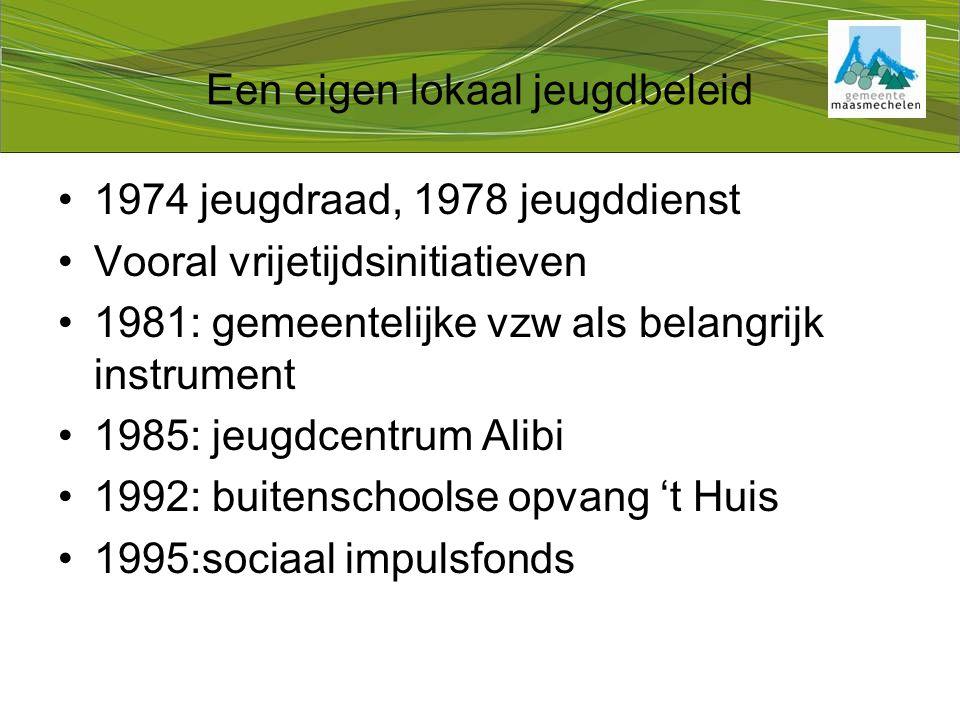 Een eigen lokaal jeugdbeleid 1974 jeugdraad, 1978 jeugddienst Vooral vrijetijdsinitiatieven 1981: gemeentelijke vzw als belangrijk instrument 1985: jeugdcentrum Alibi 1992: buitenschoolse opvang 't Huis 1995:sociaal impulsfonds