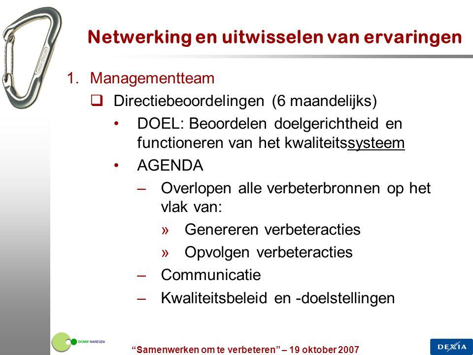 """""""Samenwerken om te verbeteren"""" – 19 oktober 2007 18 Netwerking en uitwisselen van ervaringen 1.Managementteam  Directiebeoordelingen (6 maandelijks)"""
