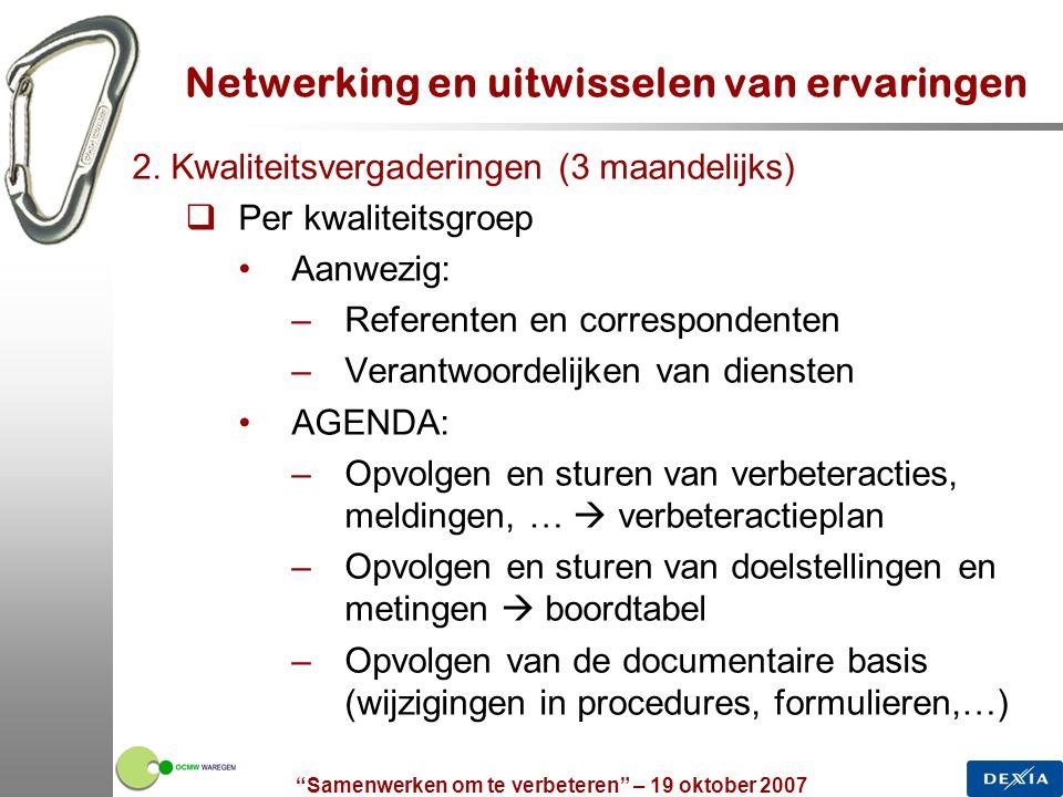 """""""Samenwerken om te verbeteren"""" – 19 oktober 2007 19 Netwerking en uitwisselen van ervaringen 2. Kwaliteitsvergaderingen (3 maandelijks)  Per kwalitei"""