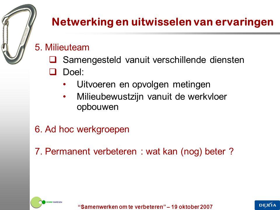 """""""Samenwerken om te verbeteren"""" – 19 oktober 2007 21 Netwerking en uitwisselen van ervaringen 5. Milieuteam  Samengesteld vanuit verschillende dienste"""