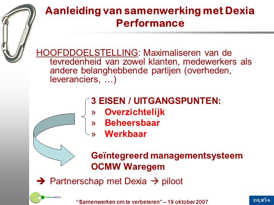 """""""Samenwerken om te verbeteren"""" – 19 oktober 2007 5 Aanleiding van samenwerking met Dexia Performance HOOFDDOELSTELLING: Maximaliseren van de tevredenh"""