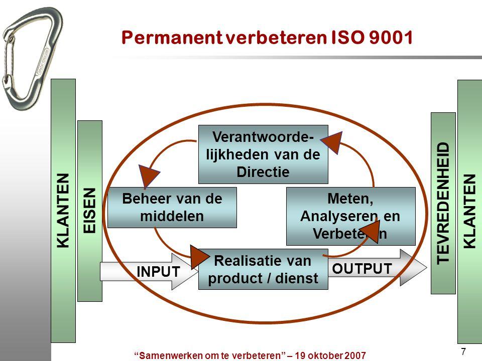 """""""Samenwerken om te verbeteren"""" – 19 oktober 2007 7 Permanent verbeteren ISO 9001 KLANTEN EISEN TEVREDENHEID Beheer van de middelen Meten, Analyseren e"""