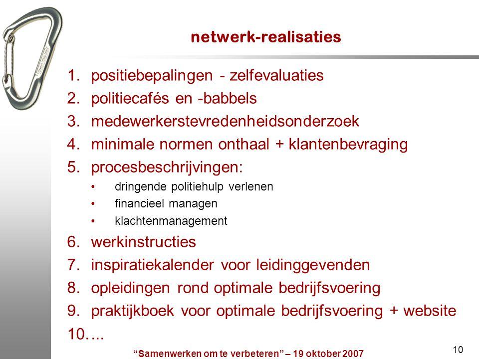 """""""Samenwerken om te verbeteren"""" – 19 oktober 2007 10 netwerk-realisaties 1.positiebepalingen - zelfevaluaties 2.politiecafés en -babbels 3.medewerkerst"""