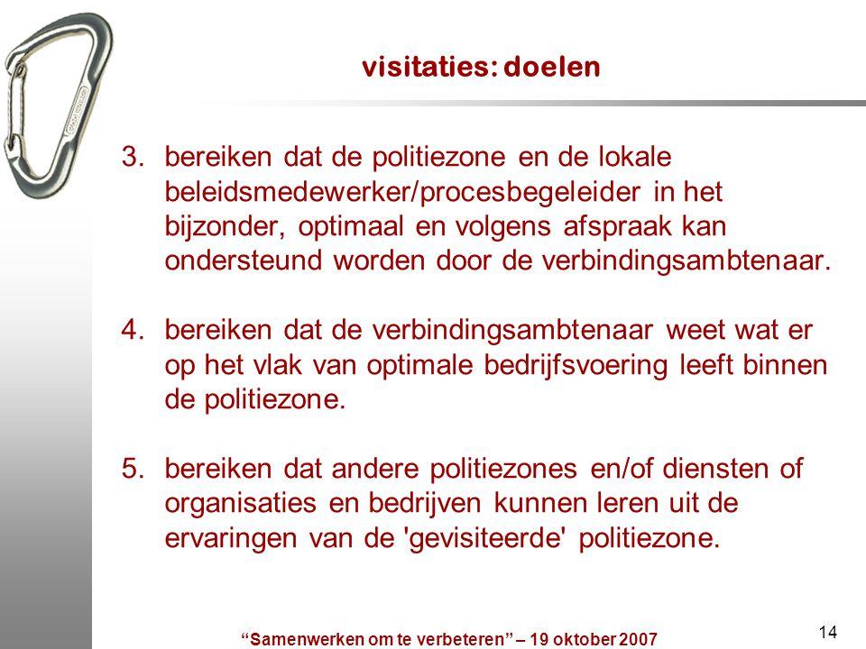 """""""Samenwerken om te verbeteren"""" – 19 oktober 2007 14 visitaties: doelen 3.bereiken dat de politiezone en de lokale beleidsmedewerker/procesbegeleider i"""
