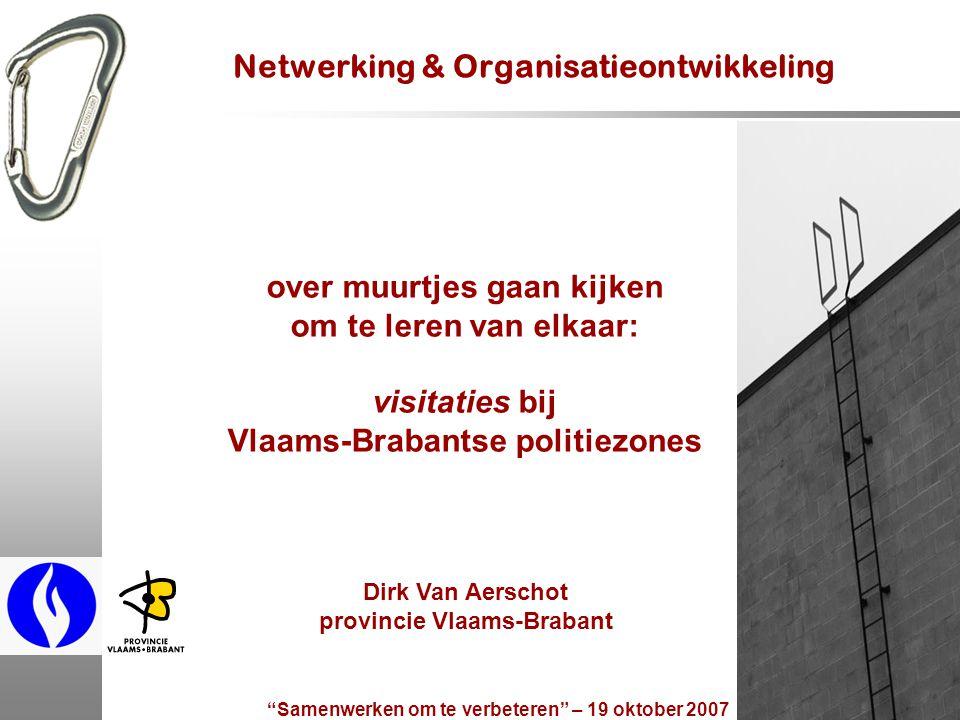 Samenwerken om te verbeteren – 19 oktober 2007 3 overzicht 1.politiezones en de rol van de gouverneur 2.praktijkgroep voor optimale bedrijfsvoering 3.netwerkrealisaties 4.visitaties doel belang van netwerken aanpak