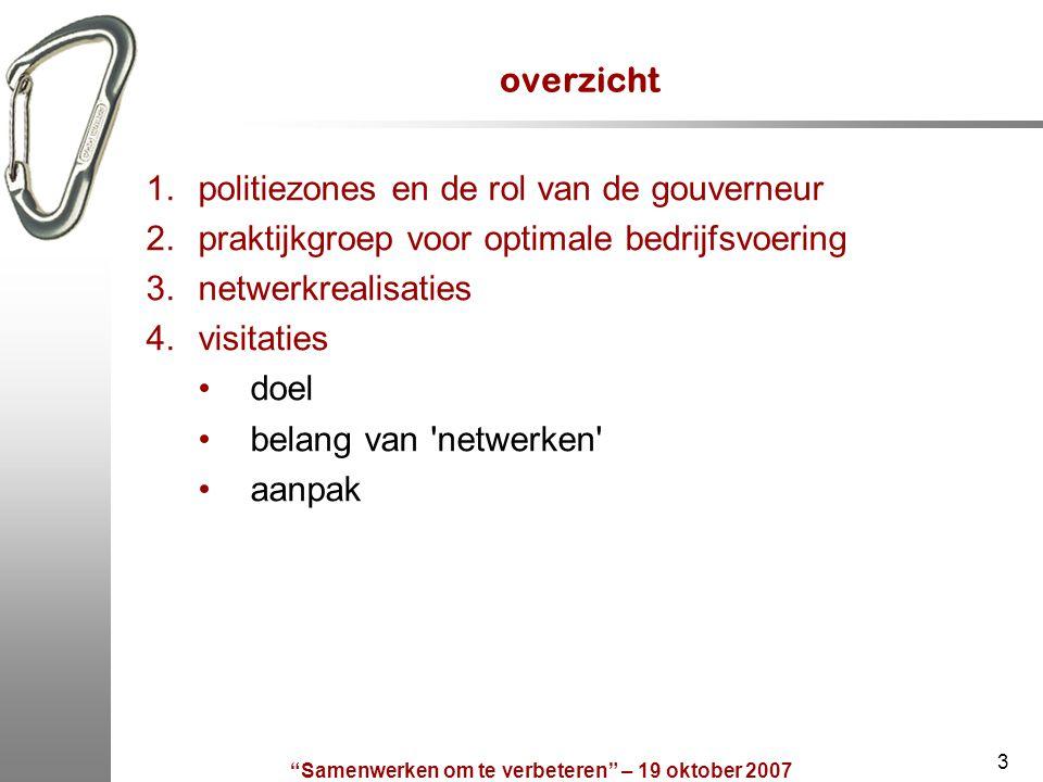 """""""Samenwerken om te verbeteren"""" – 19 oktober 2007 3 overzicht 1.politiezones en de rol van de gouverneur 2.praktijkgroep voor optimale bedrijfsvoering"""