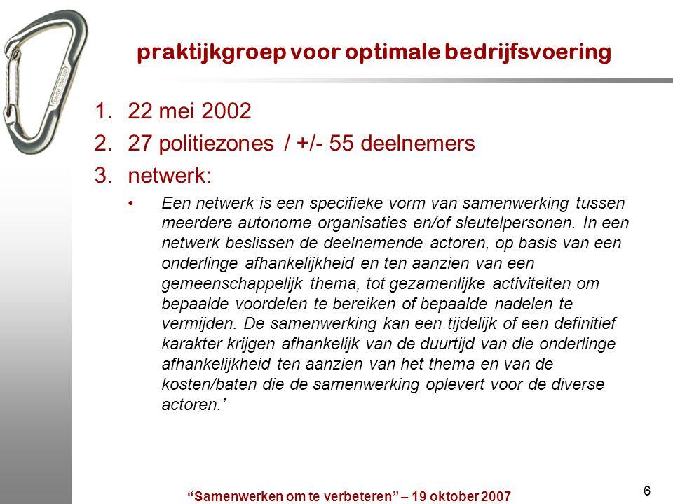 """""""Samenwerken om te verbeteren"""" – 19 oktober 2007 6 praktijkgroep voor optimale bedrijfsvoering 1.22 mei 2002 2.27 politiezones / +/- 55 deelnemers 3.n"""