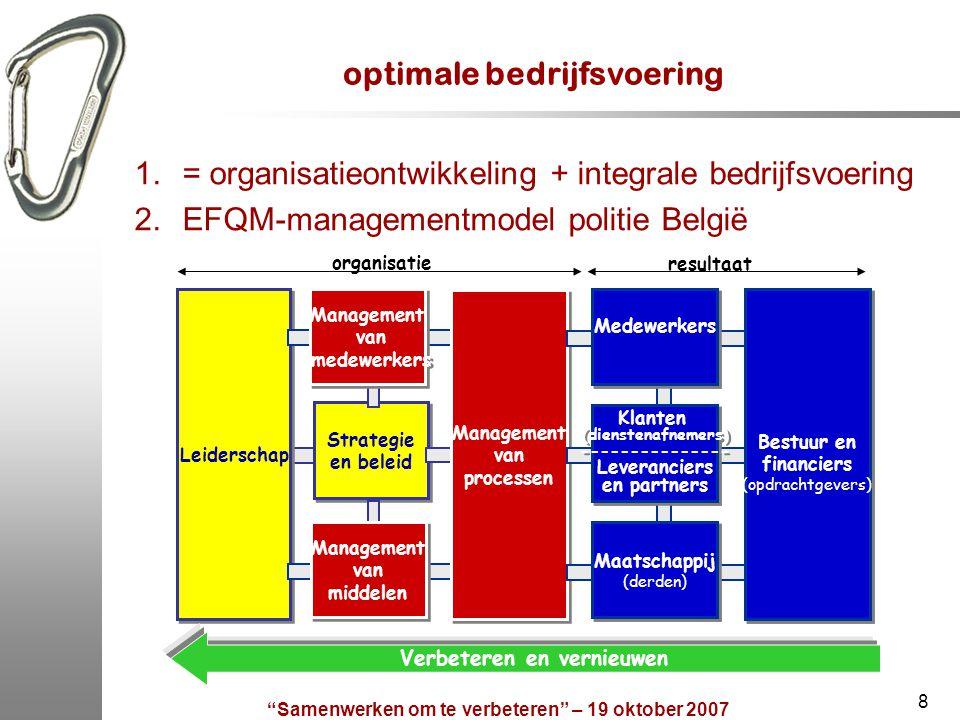 Samenwerken om te verbeteren – 19 oktober 2007 9 optimale bedrijfsvoering - definitie het doeltreffend en doelmatig besturen van een organisatie, gebruikmakend van haar lerend vermogen en haar kerncompetenties:  door het voortdurend en gelijktijdig aandacht schenken aan: de vijf principes van optimale bedrijfsvoering; de vijf organisatiegebieden; de gerechtvaardigde verwachtingen van de vijf groepen belanghebbenden, in een gezonde balans;  en door het systematische toepassen van de Plan-Do-Check-Act-cyclus, met aandacht voor het opeenvolgend verzamelen van alle nuttige informatie en het bepalen van de gerechtvaardigde verwachtingen, het plannen, uitvoeren, meten en evalueren, verankeren of bijstellen van activiteiten;  om doelgericht en stapsgewijs te groeien en te evolueren, zowel binnen eenzelfde groeifase als naar een hogere groeifase die aansluit bij het ontwikkelingsstadium van de gemeenschapsgerichte en van de informatiegestuurde politiezorg en die leidt tot maatschappelijk verantwoorde en duurzame resultaten.