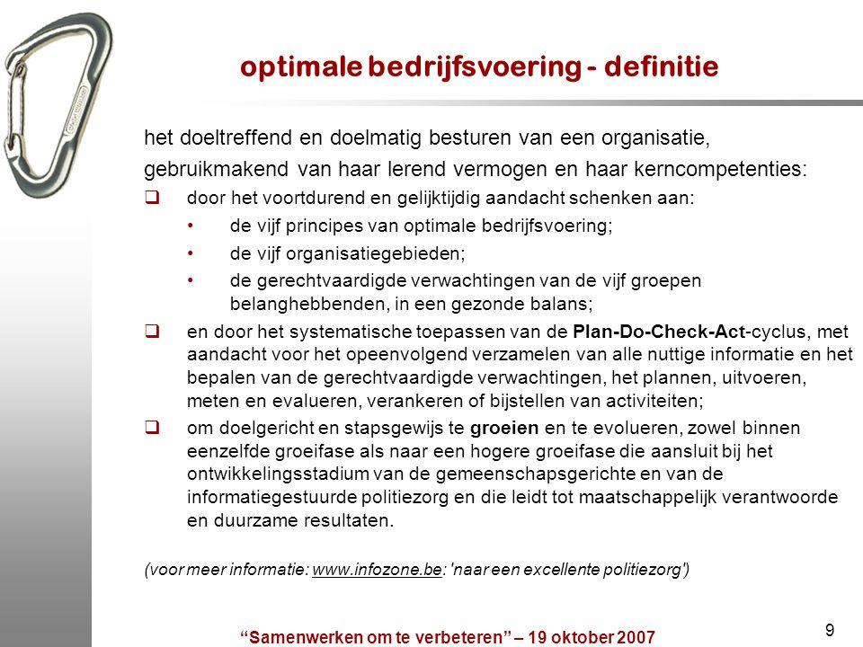 """""""Samenwerken om te verbeteren"""" – 19 oktober 2007 9 optimale bedrijfsvoering - definitie het doeltreffend en doelmatig besturen van een organisatie, ge"""