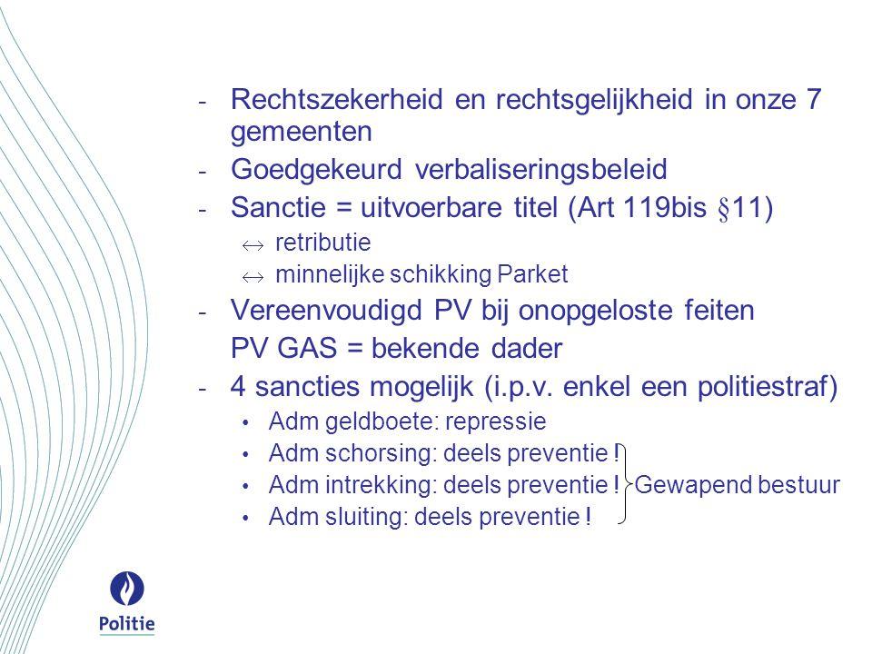 - Rechtszekerheid en rechtsgelijkheid in onze 7 gemeenten - Goedgekeurd verbaliseringsbeleid - Sanctie = uitvoerbare titel (Art 119bis §11)  retribut