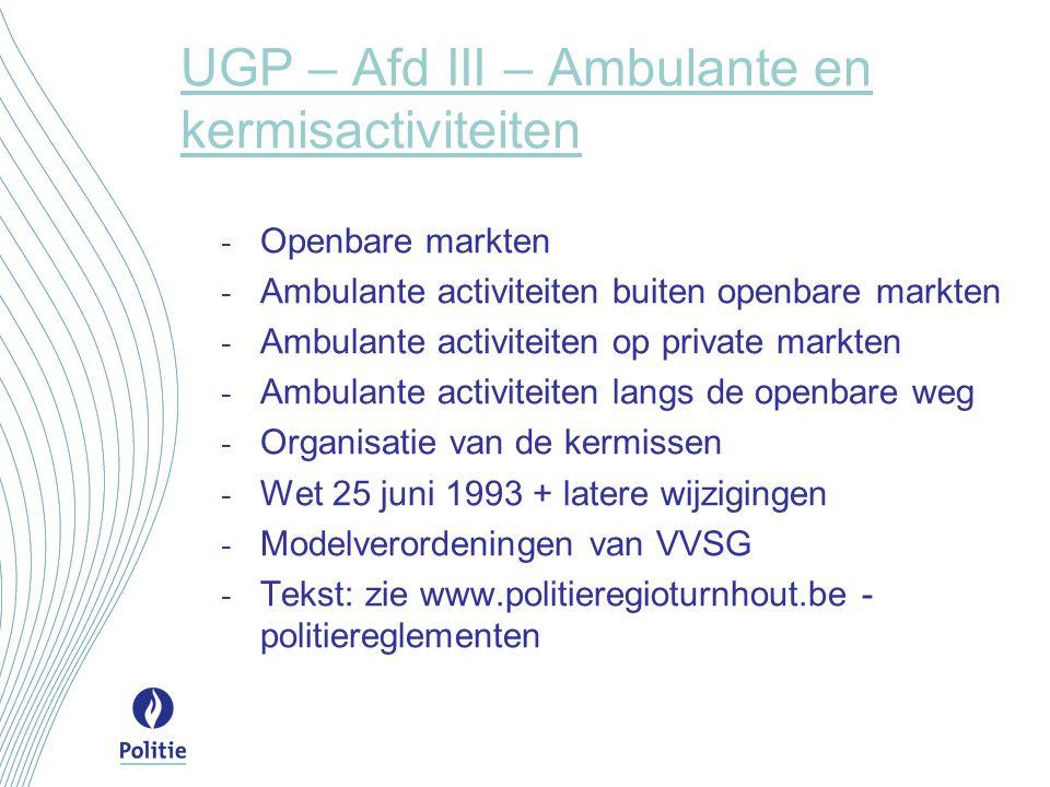 UGP – Afd III – Ambulante en kermisactiviteiten - Openbare markten - Ambulante activiteiten buiten openbare markten - Ambulante activiteiten op privat
