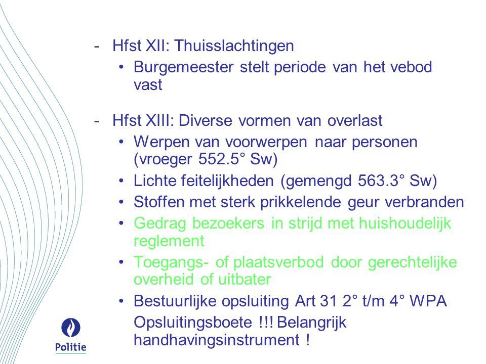-Hfst XII: Thuisslachtingen Burgemeester stelt periode van het vebod vast -Hfst XIII: Diverse vormen van overlast Werpen van voorwerpen naar personen