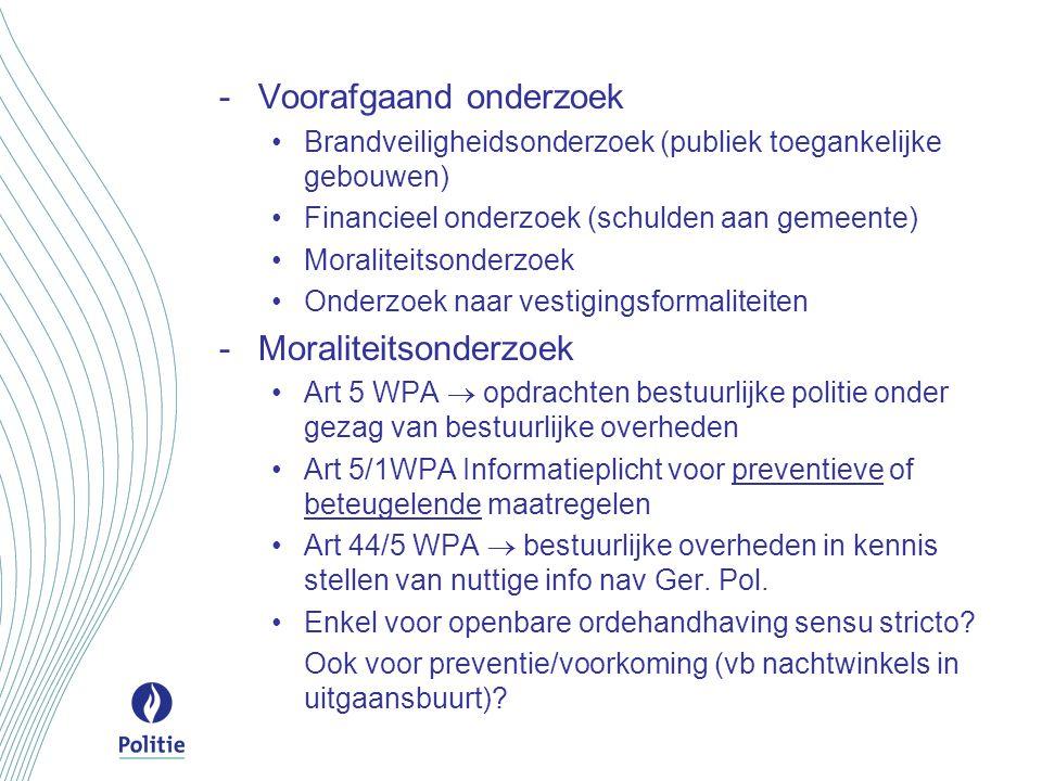 -Voorafgaand onderzoek Brandveiligheidsonderzoek (publiek toegankelijke gebouwen) Financieel onderzoek (schulden aan gemeente) Moraliteitsonderzoek On
