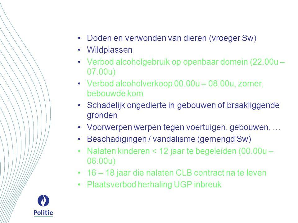 Doden en verwonden van dieren (vroeger Sw) Wildplassen Verbod alcoholgebruik op openbaar domein (22.00u – 07.00u) Verbod alcoholverkoop 00.00u – 08.00