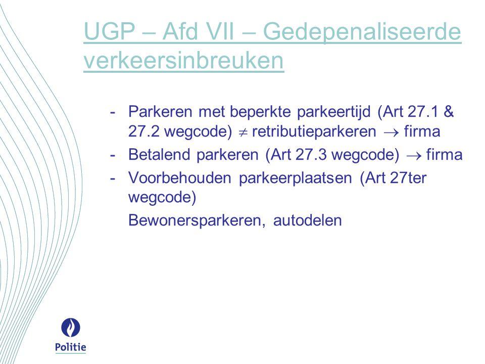 UGP – Afd VII – Gedepenaliseerde verkeersinbreuken -Parkeren met beperkte parkeertijd (Art 27.1 & 27.2 wegcode)  retributieparkeren  firma -Betalend