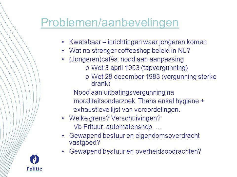 Problemen/aanbevelingen Kwetsbaar = inrichtingen waar jongeren komen Wat na strenger coffeeshop beleid in NL? (Jongeren)cafés: nood aan aanpassing oWe