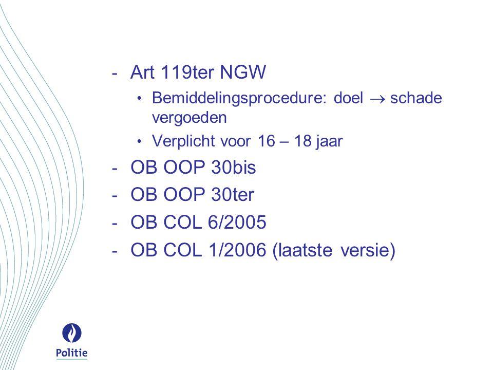 - Art 119ter NGW Bemiddelingsprocedure: doel  schade vergoeden Verplicht voor 16 – 18 jaar - OB OOP 30bis - OB OOP 30ter - OB COL 6/2005 - OB COL 1/2