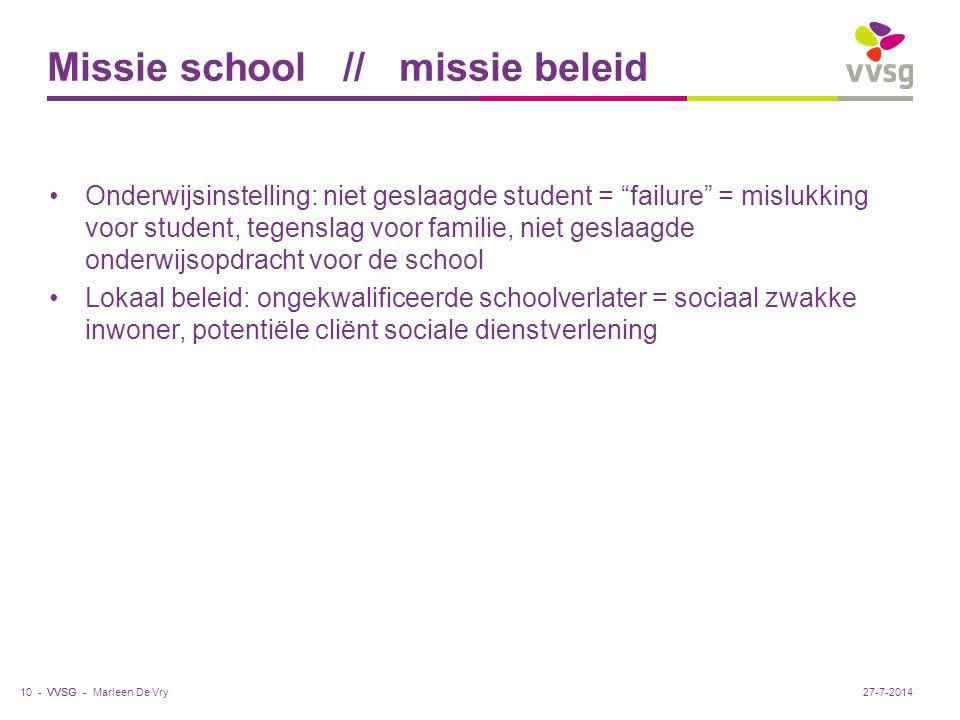 """VVSG - Missie school // missie beleid Onderwijsinstelling: niet geslaagde student = """"failure"""" = mislukking voor student, tegenslag voor familie, niet"""