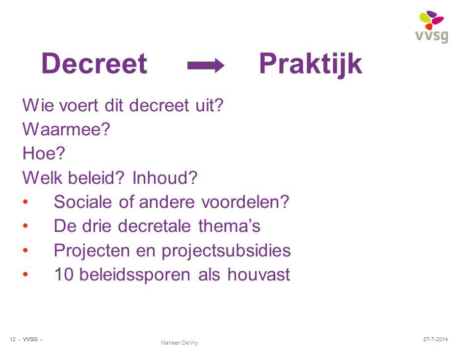 VVSG - Marleen De Vry Decreet Praktijk Wie voert dit decreet uit? Waarmee? Hoe? Welk beleid? Inhoud? Sociale of andere voordelen? De drie decretale th