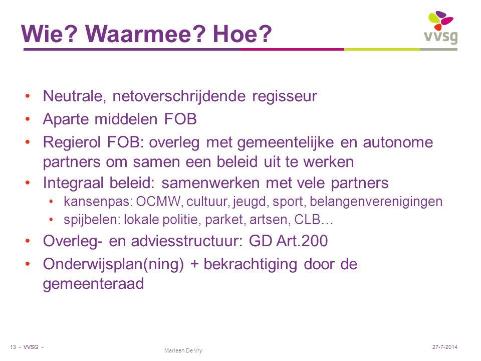 VVSG - Marleen De Vry Wie? Waarmee? Hoe? Neutrale, netoverschrijdende regisseur Aparte middelen FOB Regierol FOB: overleg met gemeentelijke en autonom