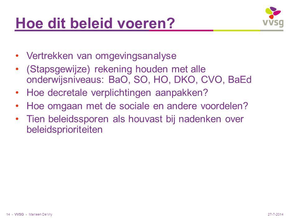 VVSG - Hoe dit beleid voeren? Marleen De Vry14 -27-7-2014 Vertrekken van omgevingsanalyse (Stapsgewijze) rekening houden met alle onderwijsniveaus: Ba