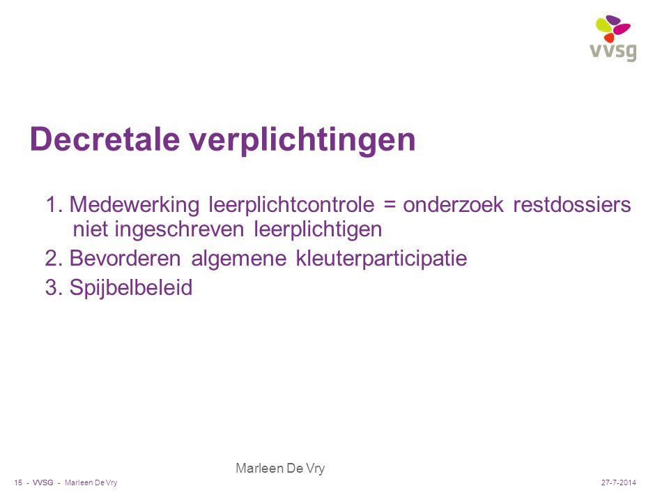 VVSG - Marleen De Vry Decretale verplichtingen 1. Medewerking leerplichtcontrole = onderzoek restdossiers niet ingeschreven leerplichtigen 2. Bevorder