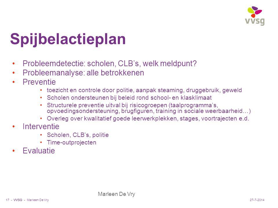VVSG - Marleen De Vry Spijbelactieplan Probleemdetectie: scholen, CLB's, welk meldpunt? Probleemanalyse: alle betrokkenen Preventie toezicht en contro
