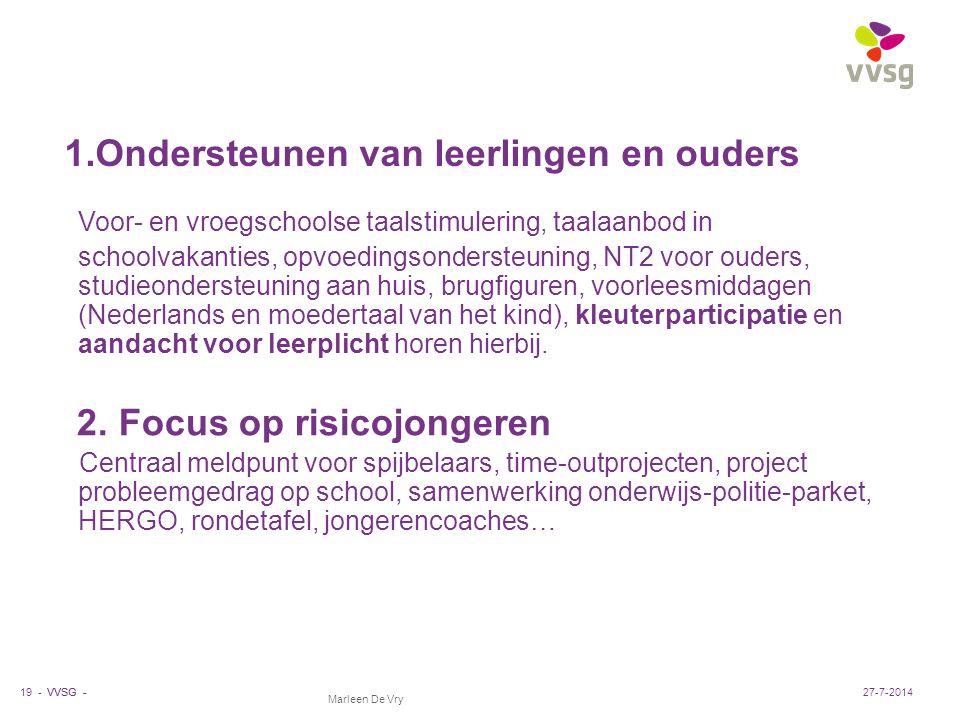 VVSG - Marleen De Vry 1.Ondersteunen van leerlingen en ouders Voor- en vroegschoolse taalstimulering, taalaanbod in schoolvakanties, opvoedingsonderst