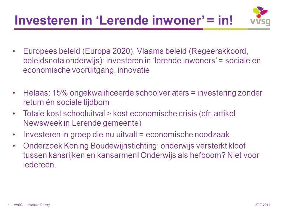 VVSG - Investeren in 'Lerende inwoner' = in! Europees beleid (Europa 2020), Vlaams beleid (Regeerakkoord, beleidsnota onderwijs): investeren in 'leren