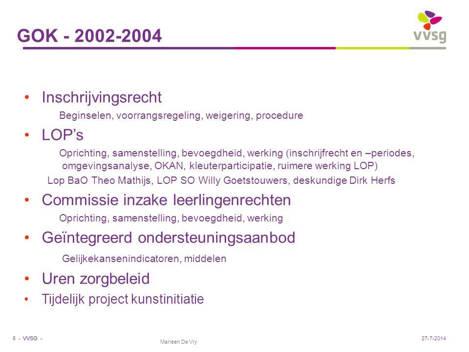 VVSG - GOK - 2002-2004 Inschrijvingsrecht Beginselen, voorrangsregeling, weigering, procedure LOP's Oprichting, samenstelling, bevoegdheid, werking (i