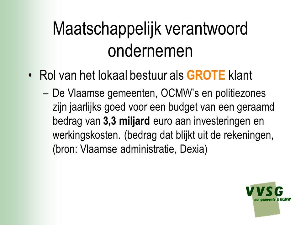Maatschappelijk verantwoord ondernemen Rol van het lokaal bestuur als GROTE klant –De Vlaamse gemeenten, OCMW's en politiezones zijn jaarlijks goed vo