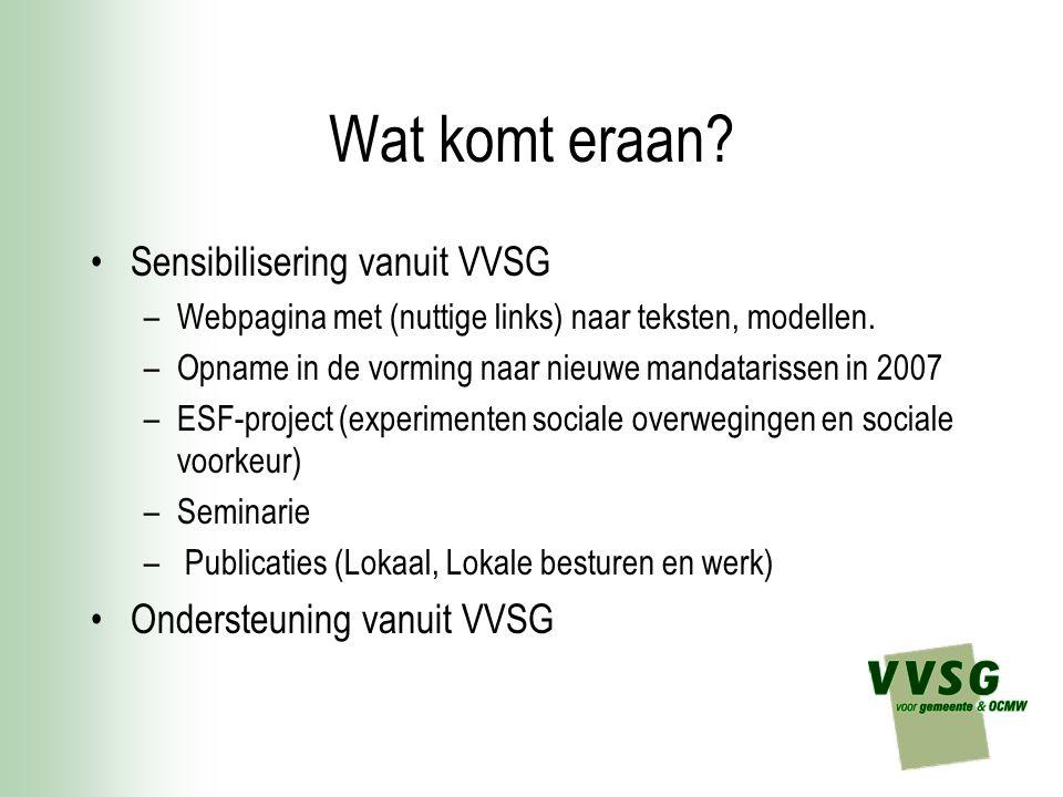 Wat komt eraan? Sensibilisering vanuit VVSG –Webpagina met (nuttige links) naar teksten, modellen. –Opname in de vorming naar nieuwe mandatarissen in