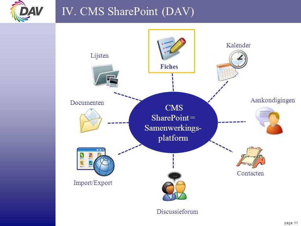 page 11 IV. CMS SharePoint (DAV) CMS SharePoint = Samenwerkings- platform Lijsten Discussieforum Kalender Documenten Import/Export Fiches Contacten Aa
