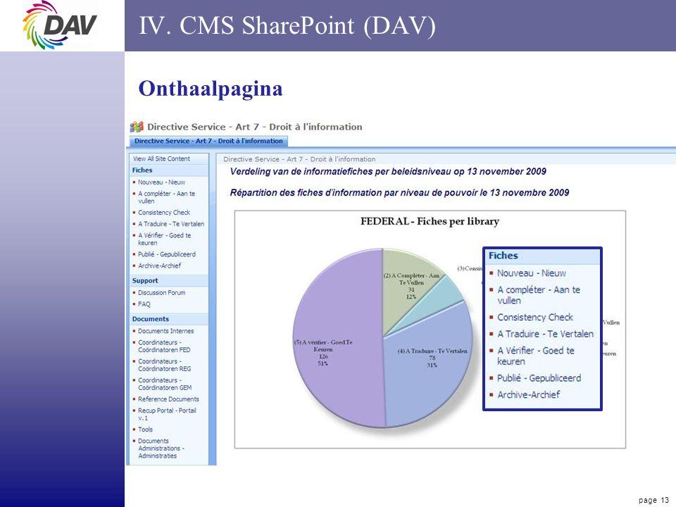page 13 IV. CMS SharePoint (DAV) Onthaalpagina