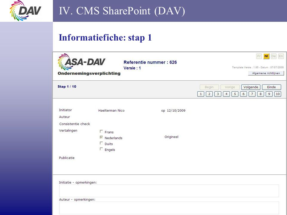 page 15 IV. CMS SharePoint (DAV) Informatiefiche: stap 1
