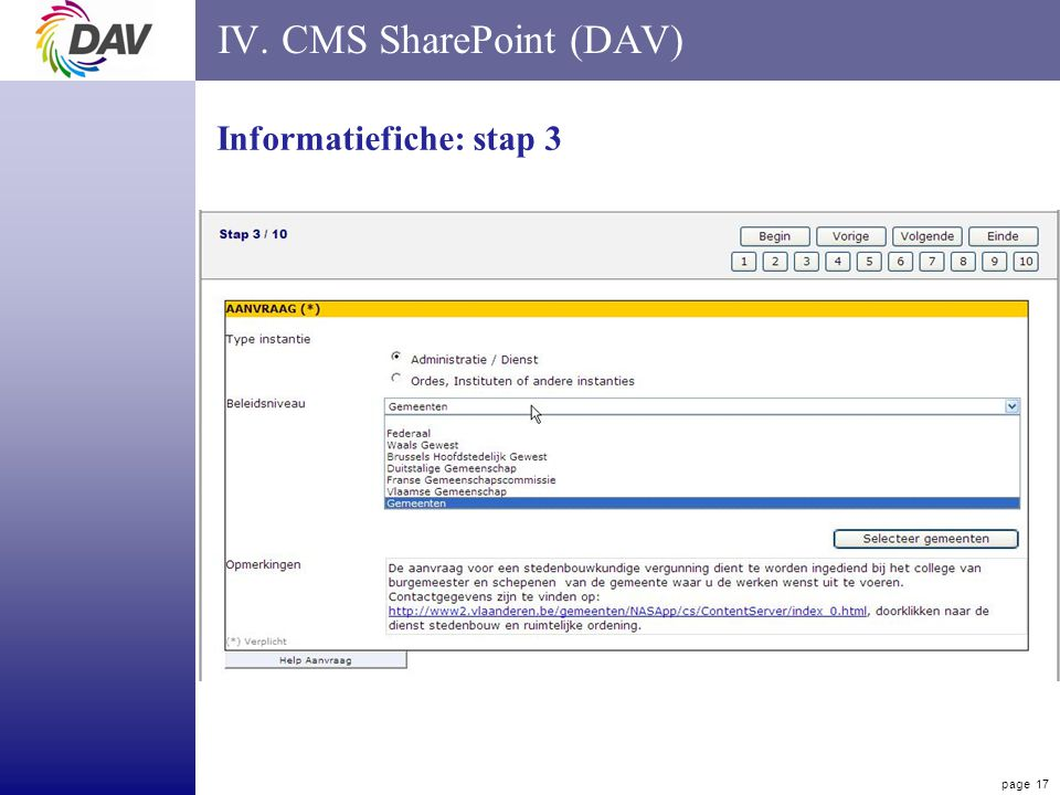 page 17 IV. CMS SharePoint (DAV) Informatiefiche: stap 3