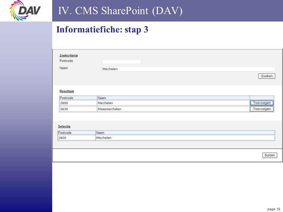 page 19 IV. CMS SharePoint (DAV) Informatiefiche: stap 3
