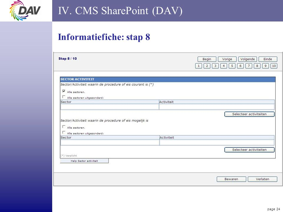 page 24 IV. CMS SharePoint (DAV) Informatiefiche: stap 8