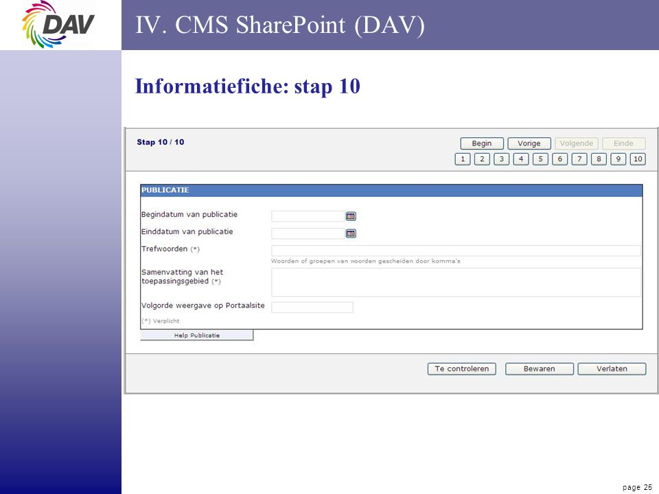page 25 IV. CMS SharePoint (DAV) Informatiefiche: stap 10