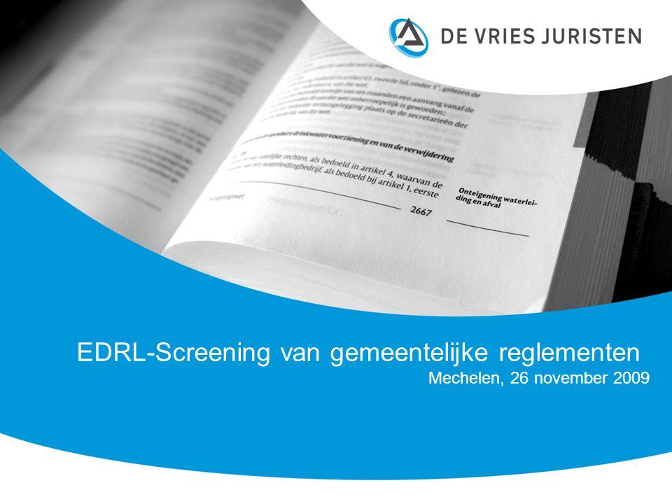 EDRL-Screening van gemeentelijke reglementen Mechelen, 26 november 2009