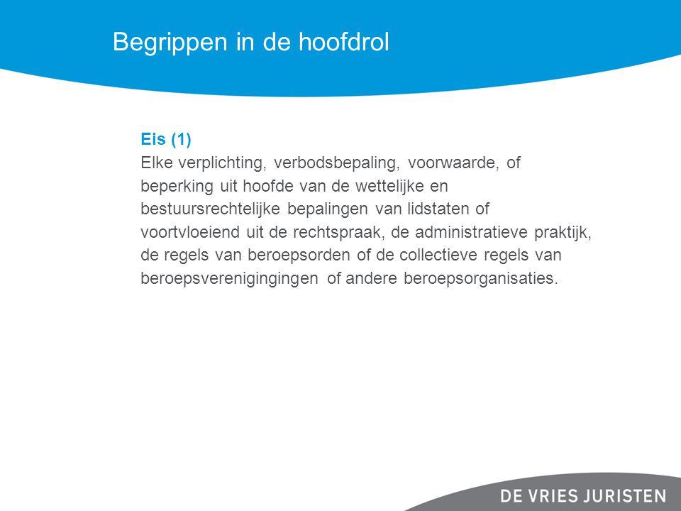 Begrippen in de hoofdrol Eis (2) De eis moet specifiek aan dienstverrichters worden gesteld (Overweging 9 richtlijn).