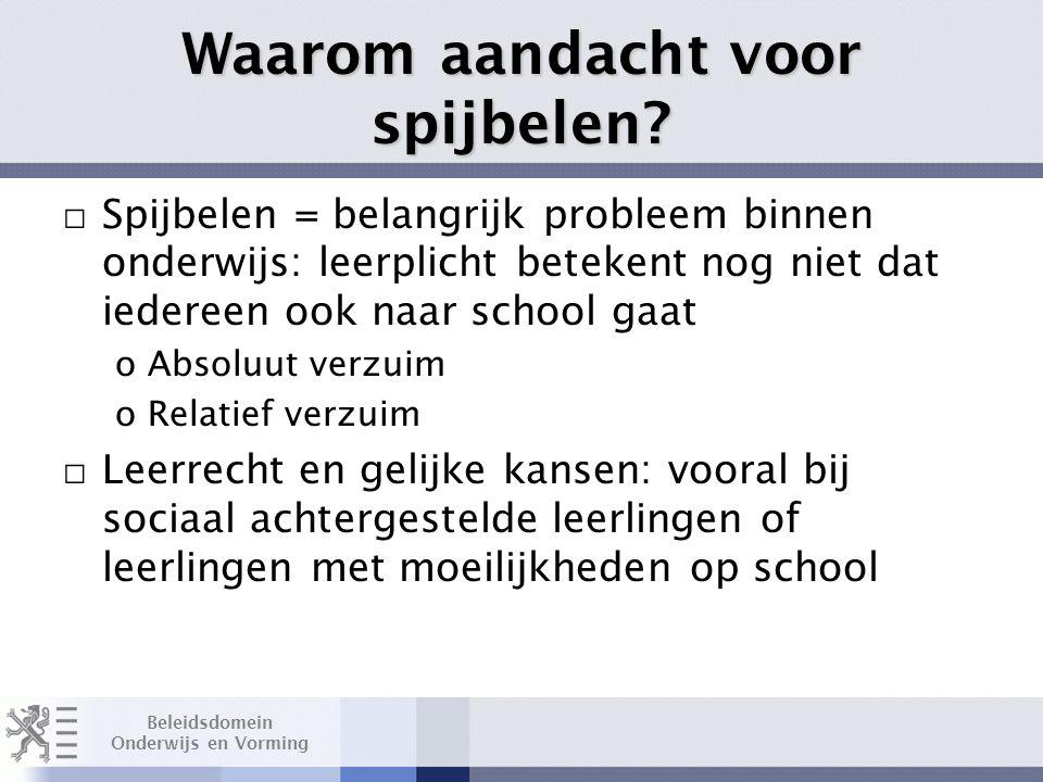 Beleidsdomein Onderwijs en Vorming Waarom aandacht voor spijbelen.