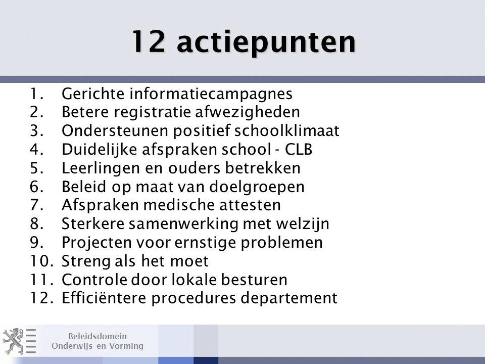 Beleidsdomein Onderwijs en Vorming 12 actiepunten 1.Gerichte informatiecampagnes 2.Betere registratie afwezigheden 3.Ondersteunen positief schoolklimaat 4.Duidelijke afspraken school - CLB 5.Leerlingen en ouders betrekken 6.Beleid op maat van doelgroepen 7.Afspraken medische attesten 8.Sterkere samenwerking met welzijn 9.Projecten voor ernstige problemen 10.Streng als het moet 11.Controle door lokale besturen 12.Efficiëntere procedures departement
