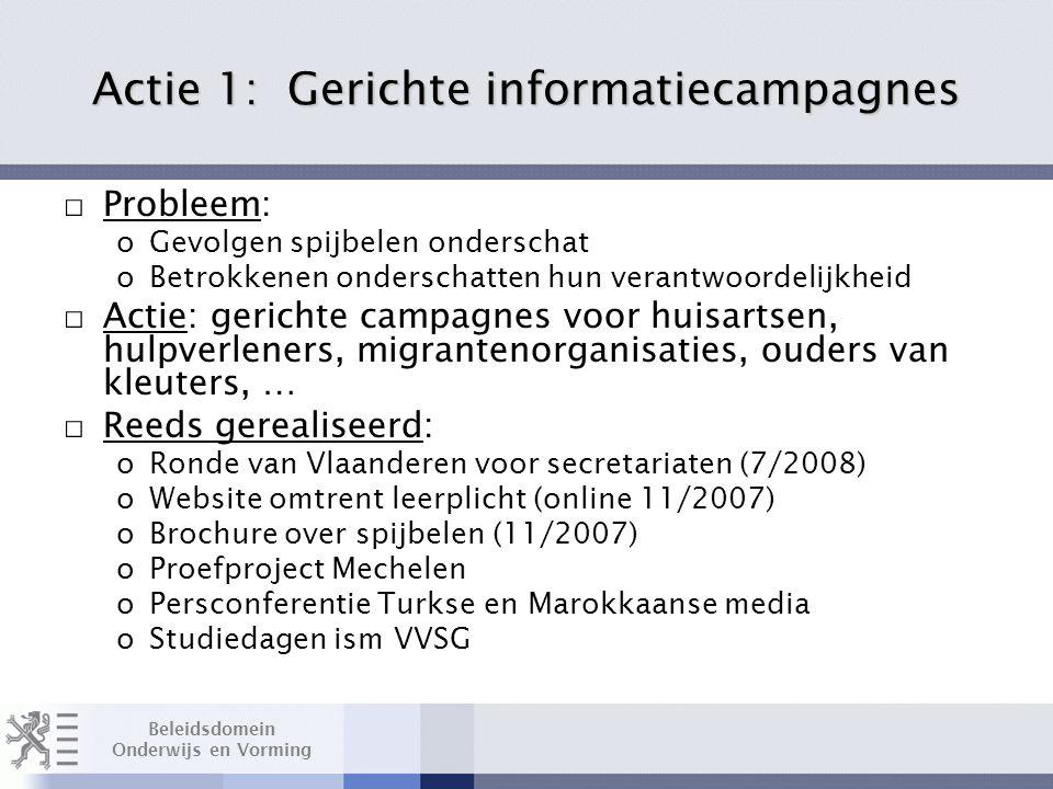 Beleidsdomein Onderwijs en Vorming Actie 1: Gerichte informatiecampagnes □ Probleem: oGevolgen spijbelen onderschat oBetrokkenen onderschatten hun verantwoordelijkheid □ Actie: gerichte campagnes voor huisartsen, hulpverleners, migrantenorganisaties, ouders van kleuters, … □ Reeds gerealiseerd: oRonde van Vlaanderen voor secretariaten (7/2008) oWebsite omtrent leerplicht (online 11/2007) oBrochure over spijbelen (11/2007) oProefproject Mechelen oPersconferentie Turkse en Marokkaanse media oStudiedagen ism VVSG