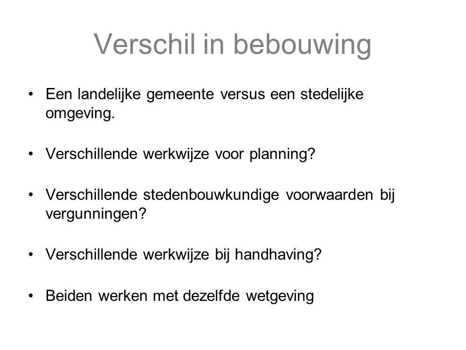 Verschil in bebouwing Een landelijke gemeente versus een stedelijke omgeving. Verschillende werkwijze voor planning? Verschillende stedenbouwkundige v