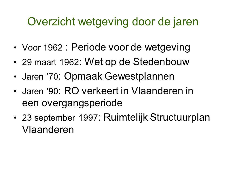 Overzicht wetgeving door de jaren Voor 1962 : Periode voor de wetgeving 29 maart 1962 : Wet op de Stedenbouw Jaren '70 : Opmaak Gewestplannen Jaren '9