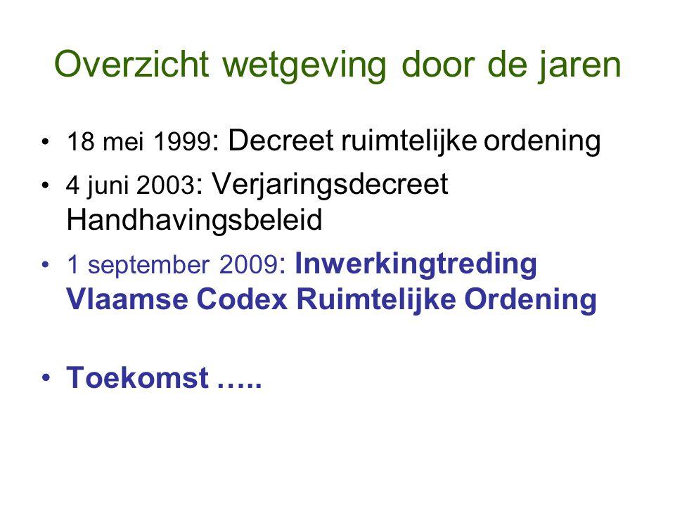 Overzicht wetgeving door de jaren 18 mei 1999 : Decreet ruimtelijke ordening 4 juni 2003 : Verjaringsdecreet Handhavingsbeleid 1 september 2009 : Inwe